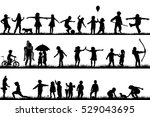 set of children silhouettes... | Shutterstock . vector #529043695