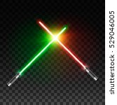 two realistic light swords.... | Shutterstock .eps vector #529046005