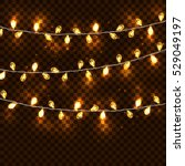 realistic glowing garland on a... | Shutterstock .eps vector #529049197