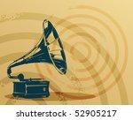 Vintage Gramophone On Grunge...