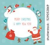 christmas card with santa claus.... | Shutterstock .eps vector #529052869