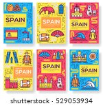spain vector brochure cards... | Shutterstock .eps vector #529053934
