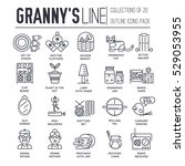 grannys day thin line icons...