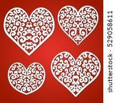 laser cutting set of hearts.... | Shutterstock .eps vector #529058611