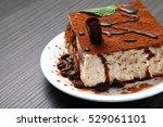 tiramisu dessert on a porcelain ... | Shutterstock . vector #529061101