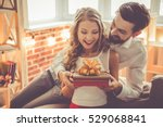 beautiful young couple is... | Shutterstock . vector #529068841