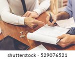 cropped image of man is signing ... | Shutterstock . vector #529076521