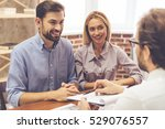 beautiful couple is talking... | Shutterstock . vector #529076557