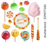Candy set. Swirl caramel. Cotton candy. Sweet lollipop. 3d vector icon | Shutterstock vector #529077181