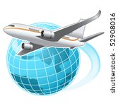 airplane flying around the globe | Shutterstock .eps vector #52908016