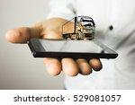 fur truck on a man's hand | Shutterstock . vector #529081057