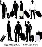 men with traveling bags   vector | Shutterstock .eps vector #529081594