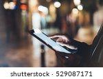 girl holding in hands on blank... | Shutterstock . vector #529087171