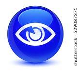 Eye Icon Glassy Blue Round...