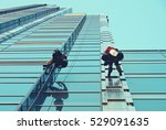 group of workers cleaning... | Shutterstock . vector #529091635