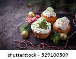 christmas cupcakes with whipped ... | Shutterstock . vector #529100509
