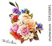 bouquet of flowers.... | Shutterstock .eps vector #529105891