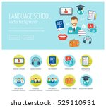 foreign language learning web... | Shutterstock .eps vector #529110931