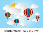 origami balloon and cloud paper ... | Shutterstock .eps vector #529112299