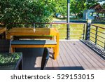 dining table sets with lake at... | Shutterstock . vector #529153015