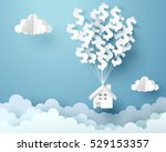 paper house hanging with dollar ... | Shutterstock .eps vector #529153357