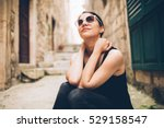 thinking woman sitting pensive... | Shutterstock . vector #529158547