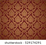 damask background red and gold  ... | Shutterstock .eps vector #529174291
