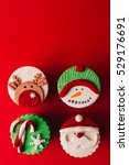 christmas cupcakes on red... | Shutterstock . vector #529176691
