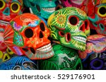 decorated colorful skulls ... | Shutterstock . vector #529176901