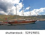 Gullet in the bay in Marmaris, Turkey - stock photo