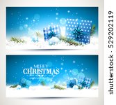 vector set of two christmas... | Shutterstock .eps vector #529202119