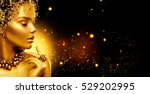 gold woman skin. beauty fashion ... | Shutterstock . vector #529202995