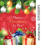 christmas background with fir... | Shutterstock .eps vector #529206391