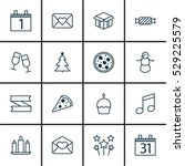 set of 16 christmas icons. can... | Shutterstock .eps vector #529225579