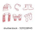 winter clothes. santa stocking... | Shutterstock .eps vector #529228945