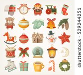 set of colorful flat stickers... | Shutterstock .eps vector #529244251