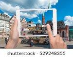 hand holding smart phone use ar ... | Shutterstock . vector #529248355