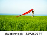 young lady runing with tissue... | Shutterstock . vector #529260979