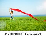 young lady runing with tissue... | Shutterstock . vector #529261105