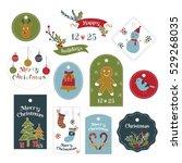 set of fun christmas die cut... | Shutterstock .eps vector #529268035