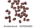 roasted coffee beans on white... | Shutterstock . vector #529284685