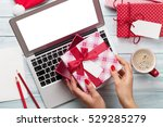 female working on laptop and... | Shutterstock . vector #529285279