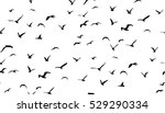 Seagulls flying in the sky, seamless vector pattern.