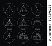 line white icons of tents on... | Shutterstock .eps vector #529296235