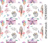 seamless pattern with circus... | Shutterstock . vector #529300057