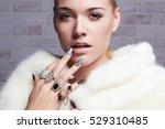 beautiful woman in fur  hands...   Shutterstock . vector #529310485