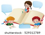 three kids reading books... | Shutterstock .eps vector #529312789