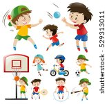 kids doing different types of... | Shutterstock .eps vector #529313011