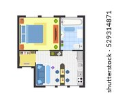 apartment floor plan with... | Shutterstock .eps vector #529314871