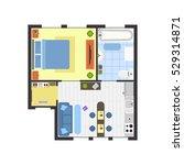 apartment floor plan with...   Shutterstock .eps vector #529314871